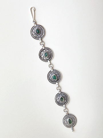 Silver and Agate Circle Bracelet