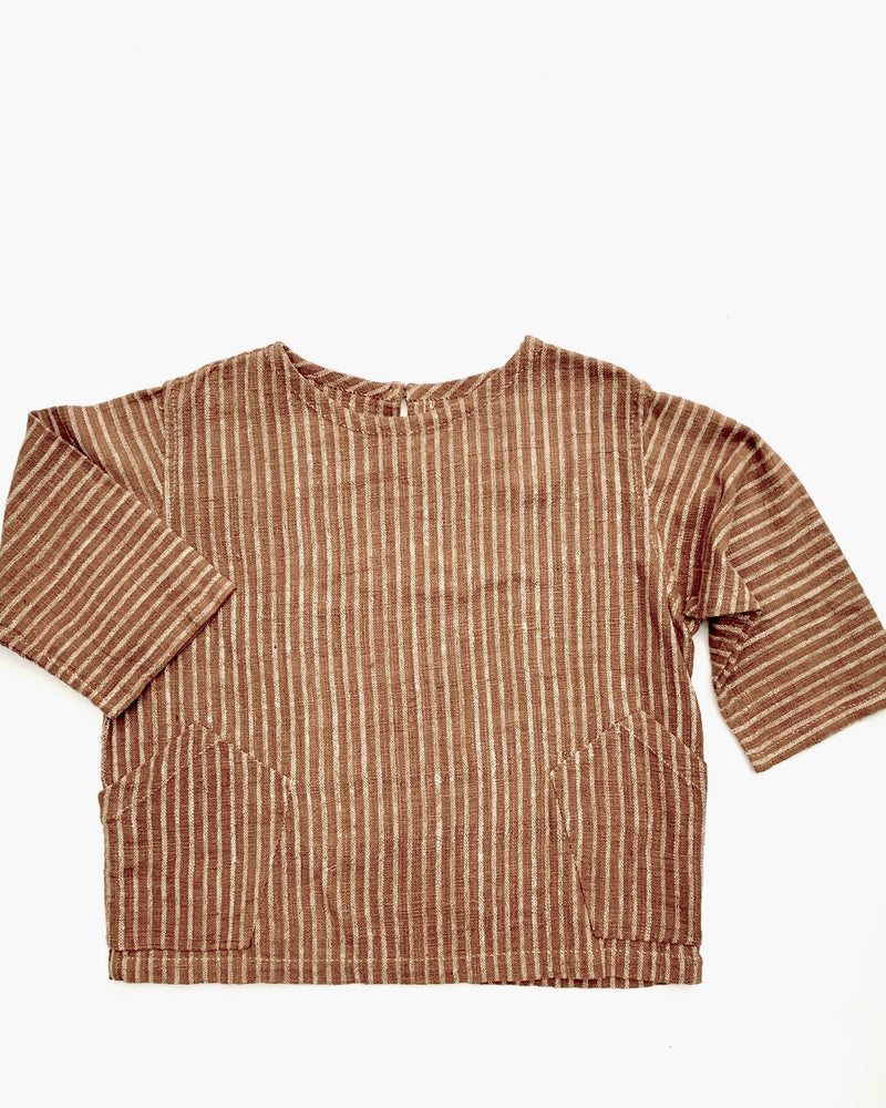 Homespun Naturally Dyed Top, Hand Sewn Cotton