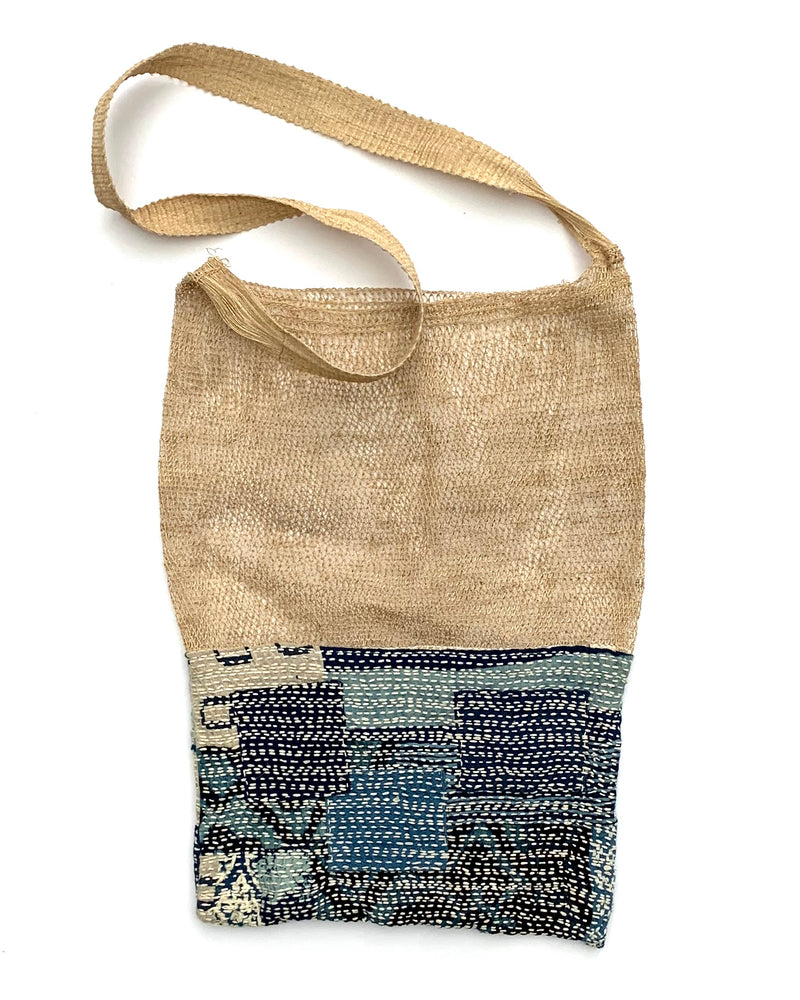 Crocheted hemp bag with hand-stitched cotton patchwork