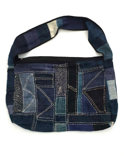 Cotton Hand-Stitched Patchwork Bag with Zipper