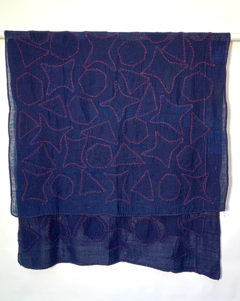 Gauzy cotton hand sewn throw or hanging with hand-stitched appliqué.