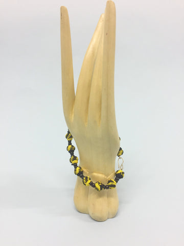 Yellow and Black Jalaba Bead Bracelet