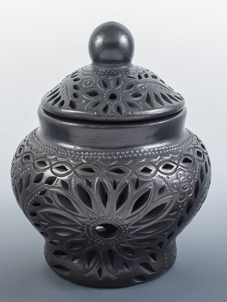 Lidded Latticed Floral Black Pottery Vase by Jovita Cardozo Castillo