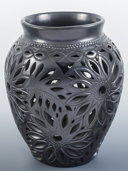 Latticed Floral Black Pottery Vase by Jovita Cardozo Castillo