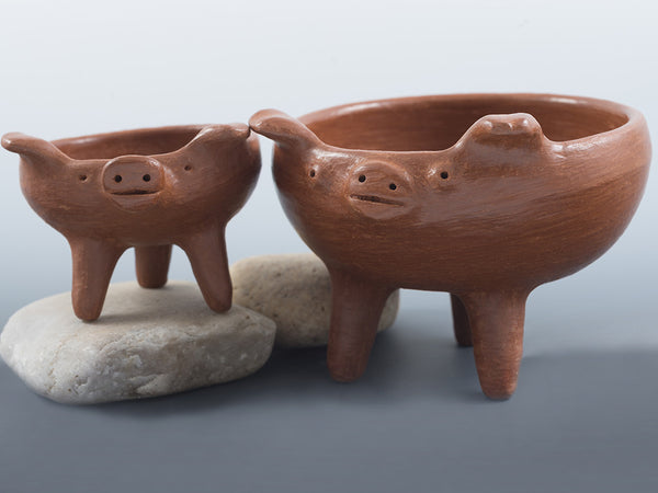Set of Two Red Clay Footed Pig Dishes