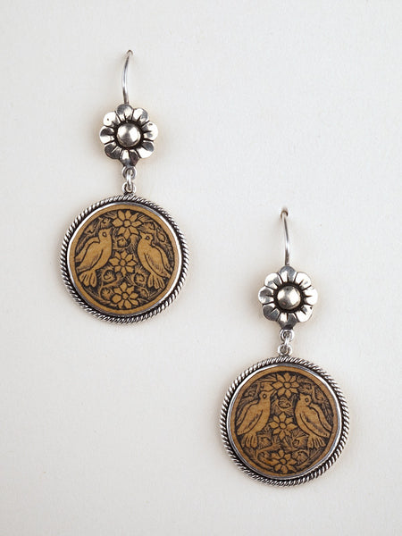 Circle Earrings with Carved Gourd Birds