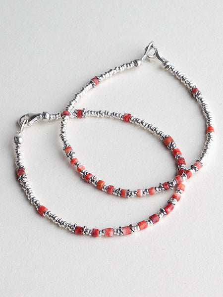 Simple Silver Bracelet With Orange Beads