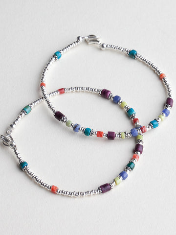 Simple Silver Bracelet With Multi Colored Beads