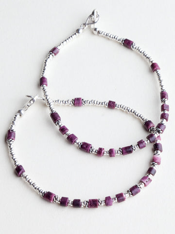 Simple Silver Bracelet With Maroon Beads