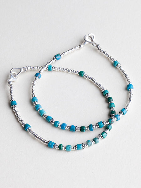 Simple Silver Bracelet With Turquoise Beads