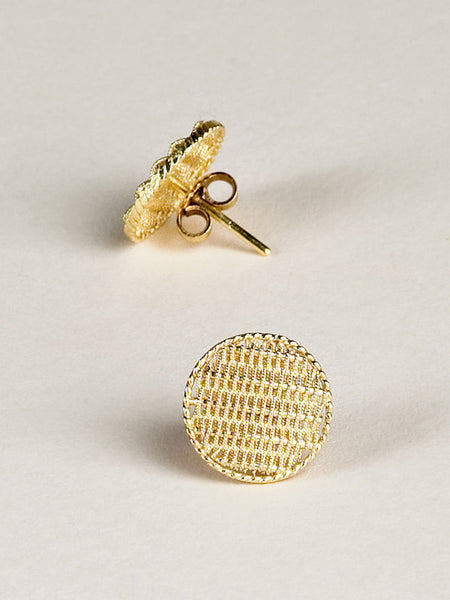 Gold Filigree Mesh Stud Earrings