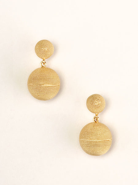 Gold Filigree Sphere Drop Earrings