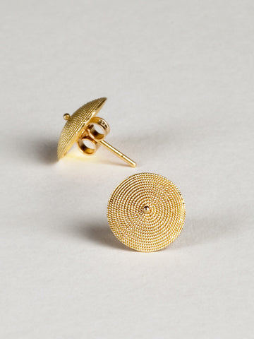 Gold Filigree Shield Stud Earrings