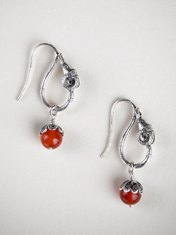 Rams Head Earrings with Carnelian Stone