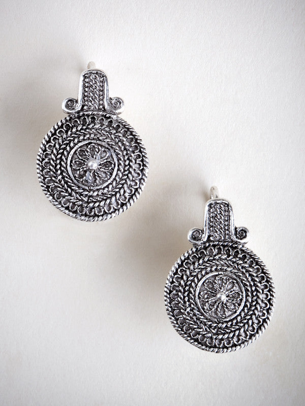 Silver Filigree Button Earrings