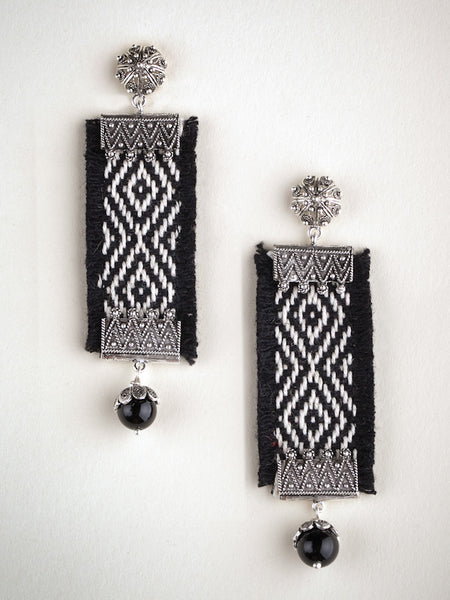 Black Woven Drop Earring