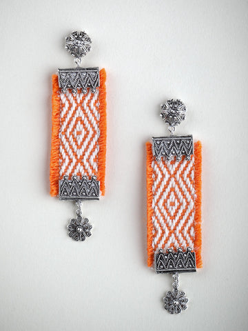 Orange Woven Drop Earring