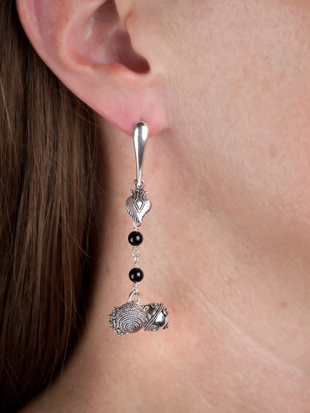 Trisphere Filigree and Onyx Drop Earrings