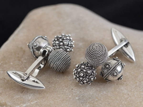 Men's Silver Filigree Trio Sphere Cufflinks