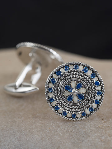 Men's Silver Tharros Filigree Enameled Cufflinks
