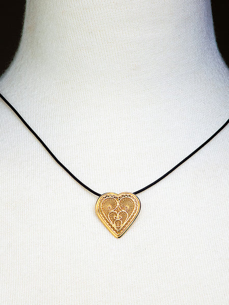 Gold Filigree Heart Pendant