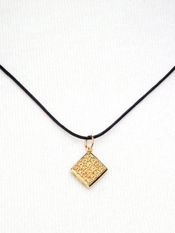 Gold Square Filigree Pendant