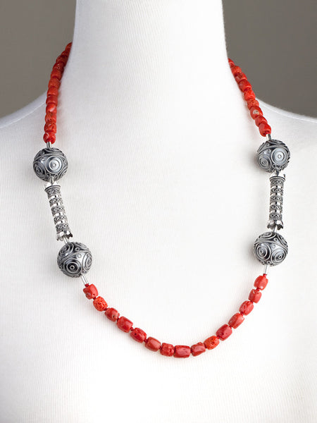 Hazelnut Bead and Coral Necklace