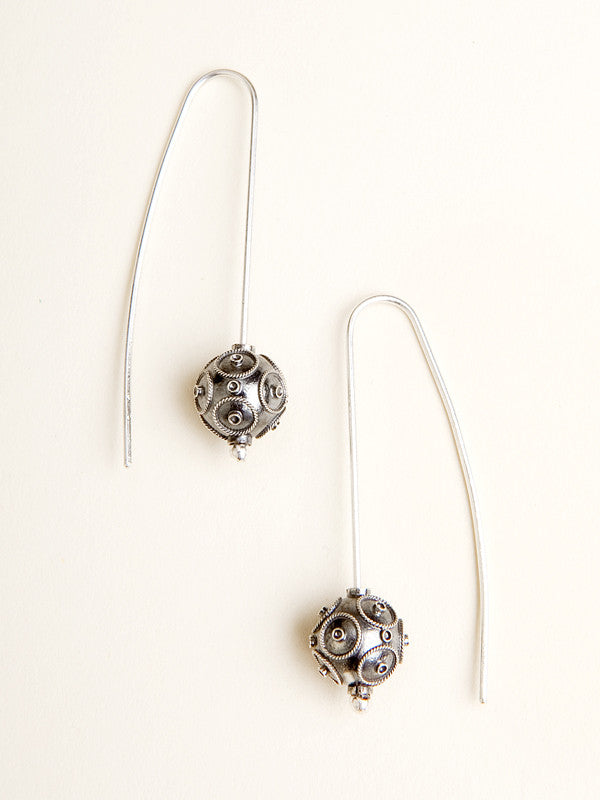 "Silver Filigree ""Hazelnut"" Bead Earrings"
