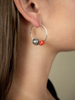 Hazelnut Bead and Coral Earrings