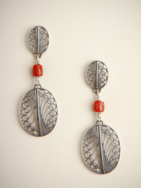 Silver Filigree and Coral Earrings