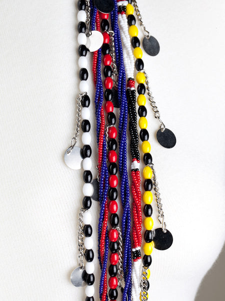 Beaded Glass Necklace - Dark Blue