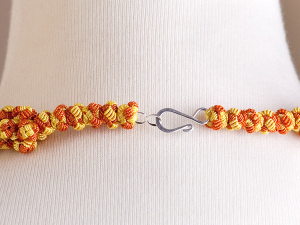 Orange and Yellow Cluster Agave Necklace