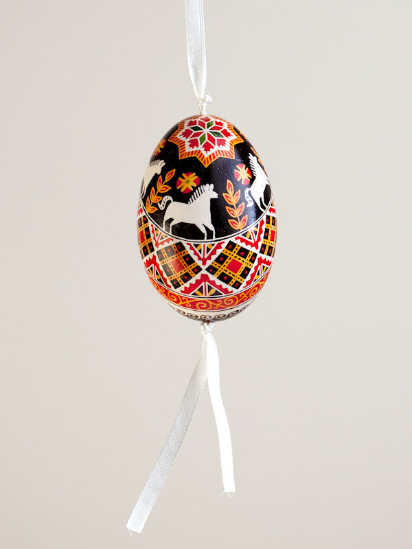 Pysanka Goose Egg Ornament - Design 26