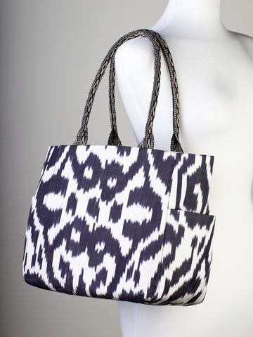 Black and Off-White Ikat Handbag
