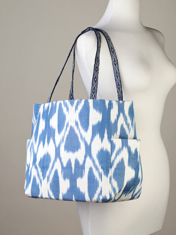 Denim Blue and Off-White Ikat Handbag