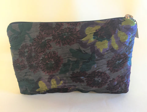 Spring Flowers Ikat Zipper Bag - Small