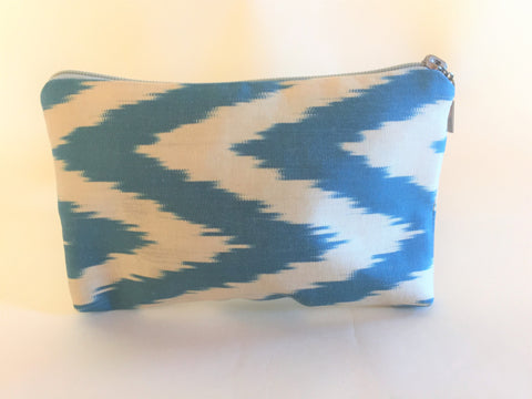 Deep Turquoise Ikat Zipper Bag - Small