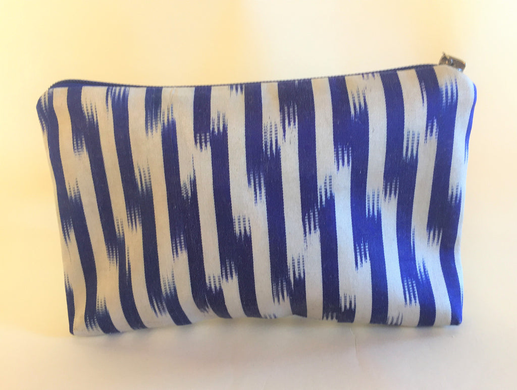 ZigZag Blue Ikat Zipper Bag - Small