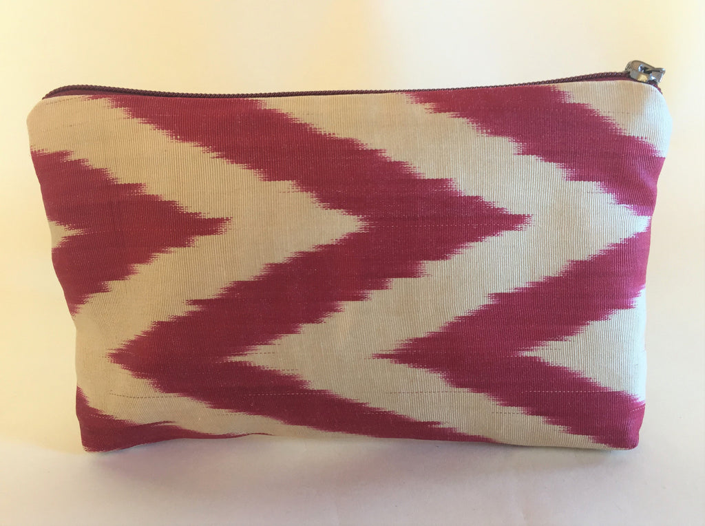 Deep Red Ikat Zipper Bag - Small