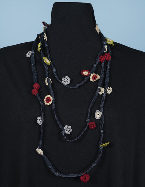 Denim and Floral Oya Embroidery Wrap Necklace