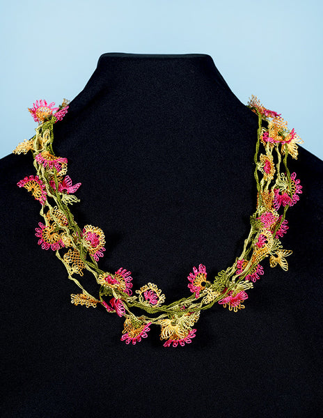 Tropical Floral Oya Embroidery Choker
