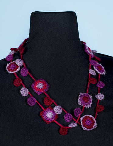 Red Square Oya Embroidery Necklace