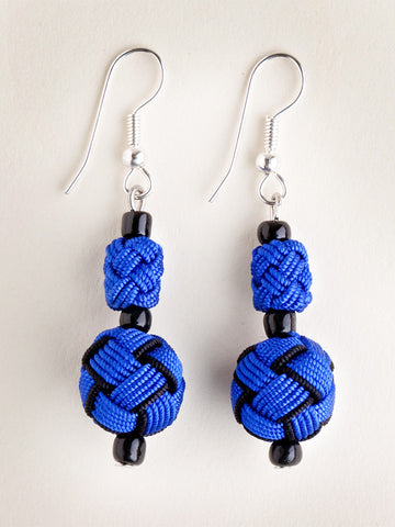 Blue and Black Agave Jacquard Ball Earring