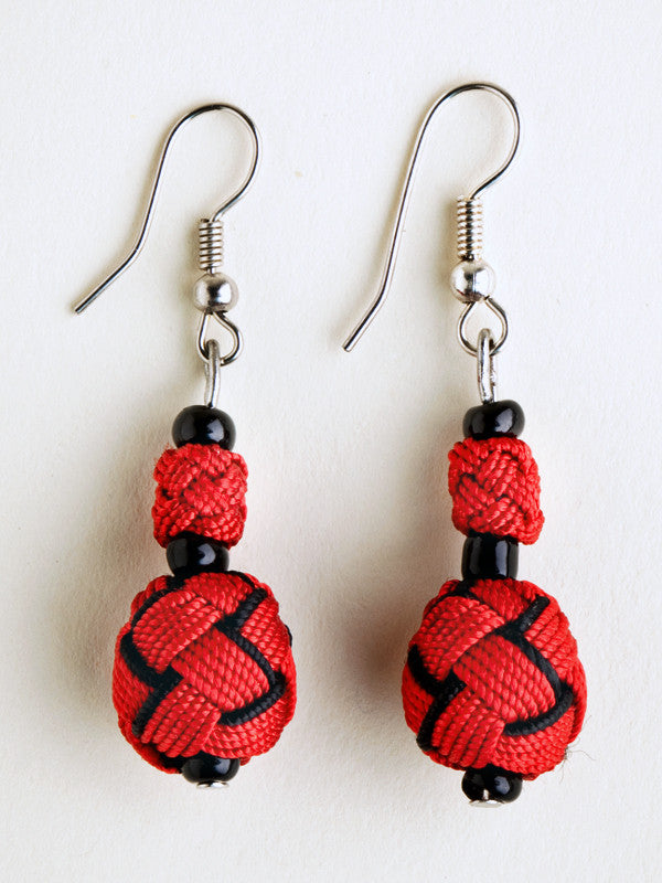 Red and Black Agave Jacquard Ball Earring