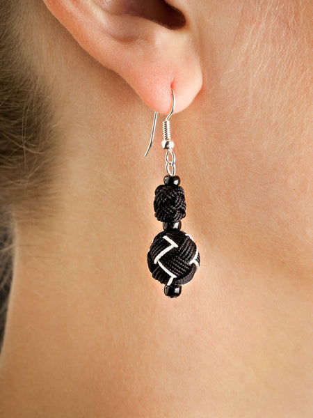 Black and White Agave Jacquard Ball Earring