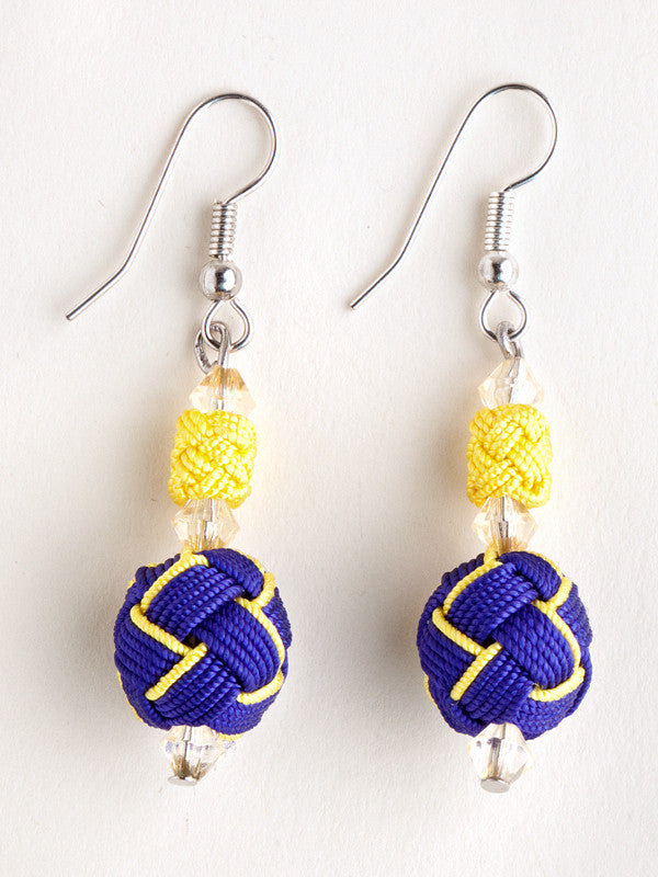 Blue and Yellow Agave Jacquard Ball Earring