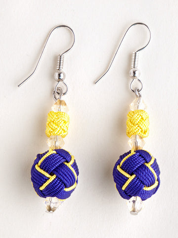 Purple and Yellow Agave Jacquard Ball Earring