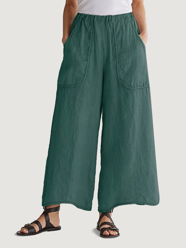 Women'S Cotton And Linen Trousers With Solid Color Pockets