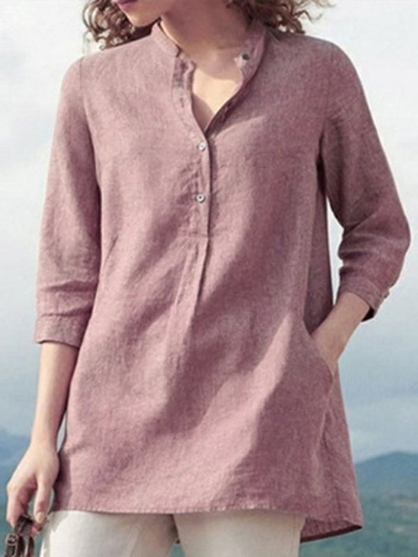 Loose Cotton And Linen Women'S Stand-Up Collar Shirt