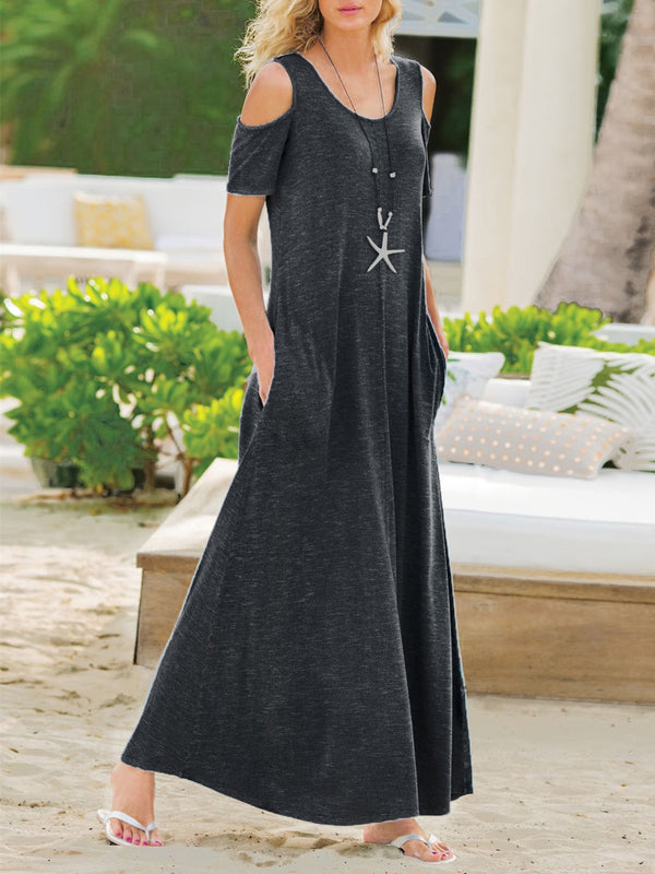 Women Plain Short Sleeve Pocket Maxi Dress